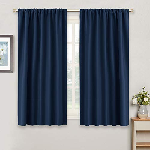 RYB HOME Blackout Curtains for Bedroom - Light Block Insulating Privacy Solar Curtain Set for Kitchen Living Room Home Theater Basement, 42 x 45 per Panel, Navy Blue, 2 Pcs
