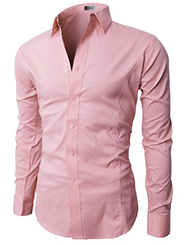 H2H Mens Wrinkle Free Slim Fit Dress Shirts with Solid Long Sleeve PINK (US M, Asia L) (JASK14)
