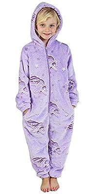 Pijama Unicornio Niña Onesie Pijamas Niñas Entero Brilla en la Oscuridad Glow in The Dark 3-14 ANS (13-14 años, Morado)