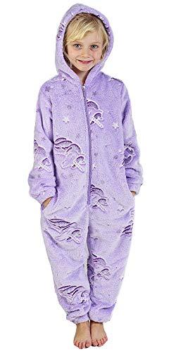 CityComfort Jumpsuit Mädchen Einhorn Onesie Leuchtet im Dunkeln Overall Hausanzug Warme Fleece 3-14 Jahre (9-10 Jahre, Violett)