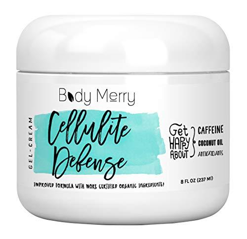 Body Merry Cellulite Defense Gel-Cream - Anti Cellulite Body Treatment for Firming & Toning w/Natural Caffeine + Coconut Oil + Peppermint (Original, 8oz)