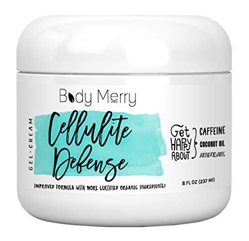 Body Merry Cellulite Defense Gel-Cream - Anti Cellulite Body Treatment for Firming & Toning w/Natural Caffeine + Coconut Oil + Peppermint (Original, 8oz)
