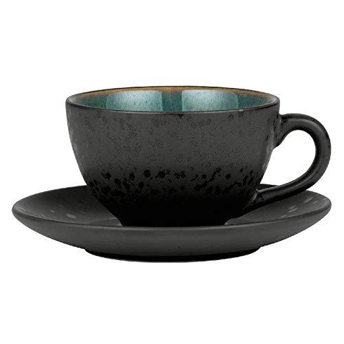 BITZ - Tasse mit Untertasse - Steingut - schwarz/grün - 0,22 l