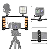 Zeadio Metal Tripod Video Rig, Handle Grip Stabilizer, Vlogging Filmmaking Recording Case, Fits for All iPhone and Android Smartphones Action Camera