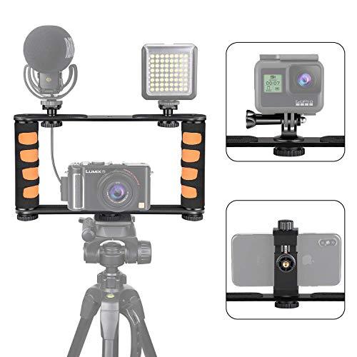 Zeadio Metall-Stativ-Video-Rig, Griff-Stabilisator, Vlogging Filmmaking Recording Case, passend für alle iPhone und Android Smartphones Action-Kamera