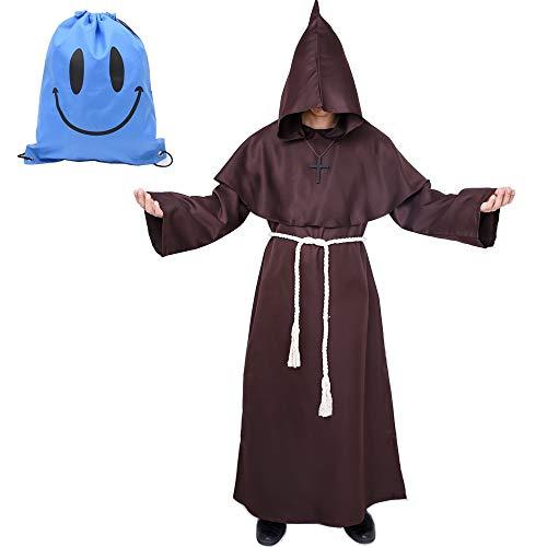 Mönch Robe Kostüm Mönch Priester Gewand Kostüm mit Kapuze Mittelalterliche Kapuze Herren Mönchskutte (Large, Braun)