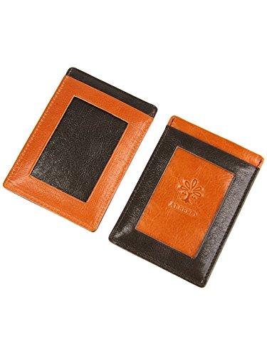 [アルベロ] 定期入れ 4361 本革 リヨン オレンジ×チョコ AL-4361-40 レディース