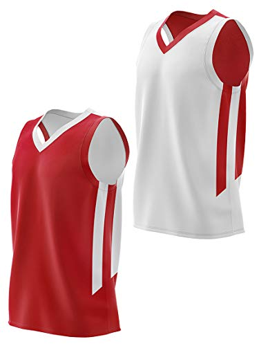 Youth Boys Reversible Mesh Performance Athletic Basketball Jerseys Blank Team Uniforms for Sports Scrimmage (1 Piece) (Red/Wht, Youth XX-Large)