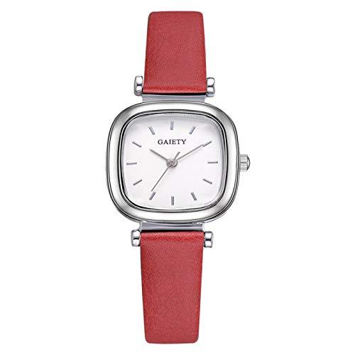 yuge Señoras reloj de lujo marca señoras reloj pu correa cuarzo señoras relojes rojo