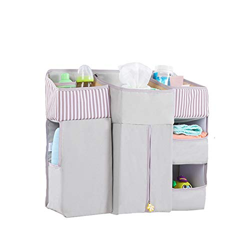 Godong - Organizador de cama para mesita de noche, organizador de cama, organizador de almacenamiento para cama, color gris