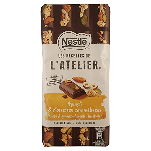 Nueces de chocolate | Muesli cubierto de chocolate | L'atelier pura muesli caramelizado avellana | Chocolate con leche de almendra | 5.99 onza de peso total | 170 gramos Total