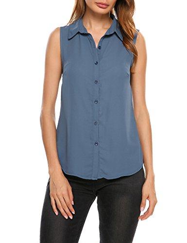 Parabler Damen Ärmelloses Bluse Sommer Blusen Blumen Tops Tank T-Shirt Obertail (EU 36(Herstellergröße: S), Blaues Grau)