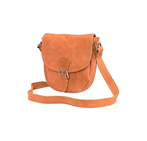 echt Leder Damentasche Schultertasche Tasche City Bag Crossover Umhängetasche (Orange)