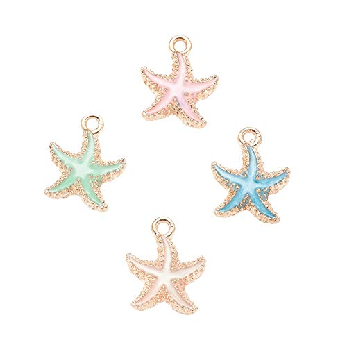 Airssory 50 Pcs Colorful Alloy Enamel Pendants Sea Animal Starfish Charms Bulk for Necklace Bracelet Jewelry Making and Crafting - 18mm