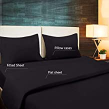 Sleeping Cloud Hotel Luxury Bed Sheet Set - Extra Soft Bedding Set 1800 Series Platinum Collection - Deep Pockets (16 in), Wrinkle, Fade, Stain & Abrasion Resistant - 4 Piece Twin Black List