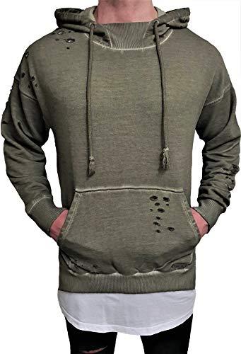 Oversize Designer Destroyed Hoodie Sweat Jacke Cardigan Hoody Pullover Shirt Herren Longsleeve m NEU Kapuzenpullover Long Sweatjacke Skater hip hop Sweatshirt Pulli (L, Khaki)