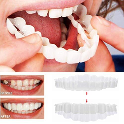 BeAUZQ Whitening Teeth Falsche Zähne Auf Comfort Fit Flex Teeth Veneers Neuheit Kieferorthopädische Zähne Perfect Denture Socket Boxed Oberen Und Unteren Zähnen,1Pairs