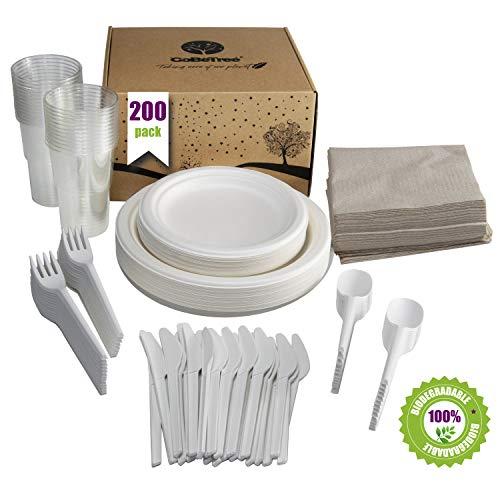GoBeTree Vajilla desechable de 200 Piezas para 25 Personas. Paquete vajilla Biodegradable de caña de azúcar Incluye 50 Platos, 25 Tenedores, 25 Cuchillos, 25 cucharas, 25 Vasos y 50 servilletas.