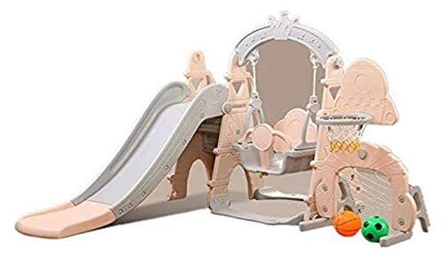 LHAHGLY Diapositiva de 4 en-1 Diapositiva y Swing con Reproductor de música, KidsRsquo; Slide del Castillo con aro de Baloncesto y fútbol toboganes Infantiles