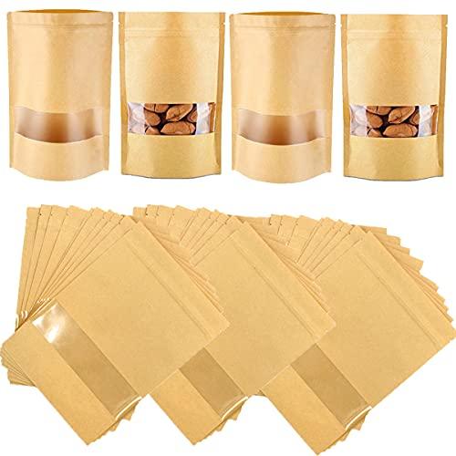 Mengger 100-pack kraft dragkedja låsväskor återanvändbar dragkedja grepp ställbara tätningsväskor vattentät brun kraft papper stående påse med transparent fönster matförvaring påsar packpåse