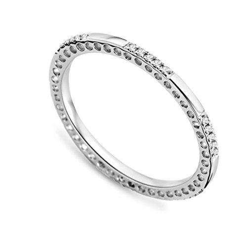 Miore MP9069RP - Anillo de oro blanco de 9 quilates con diamante (.089), talla 16 (17,84 mm)