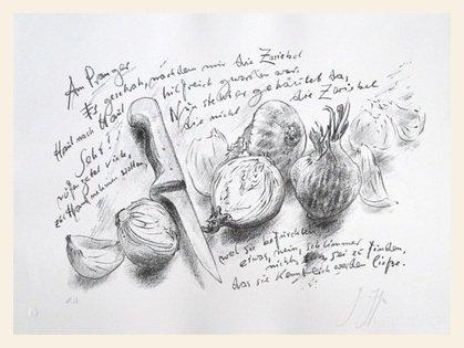 Germanposters Günter Grass Am Pranger No. 2 Originalgrafik Bild Druck handsigniert, nummeriert im Holz Rahmen in Ahorn Weiss lasiert 40x54cm