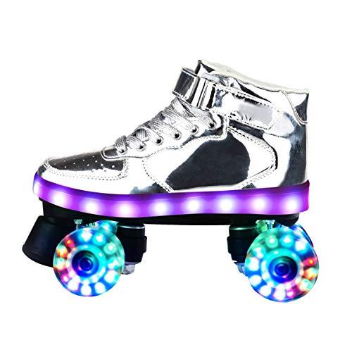 QYHSS Adulto Pattini A Rotelle, Pattini A Rotelle 4 Ruote, Ruote Illuminanti LED Rollerblades, Ideali per Principianti, Comodi Pattini a rotelle per Bambine e Bambini