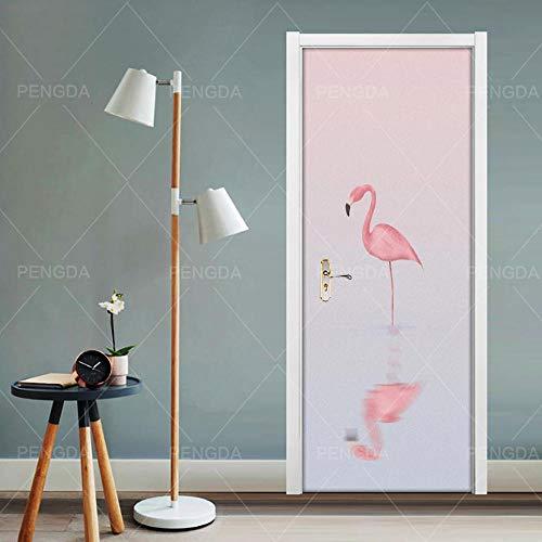 JCMTE Türtapete Selbstklebend Türposter 3D Bewirken Fototapete Türfolie Poster Tapete Flamingo-Tier 77X200Cm Abnehmbar Pe Schälen Und Stock Wandtapete Zum Wohnzimmer Küche Schlafzimmer Wandaufkleber