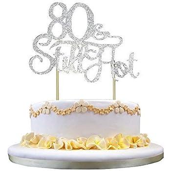 70th Birthday,Anniversary Party Acrylic cake Decoration Supplies QIYNAO Black Plastic Happy Cake Topper