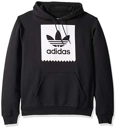 adidas Originals Men's Skate Solid Blackbird Hooded Sweatshirt, black/White, Small