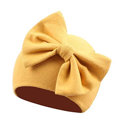 Pesaat Gorro para bebé niña con lazo, 100 % algodón, para bebés de 0 a 3 meses, primavera amarillo S