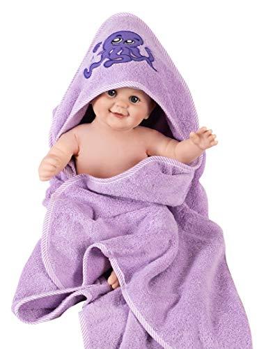 Asciugamano accappatoio bimbo con cappuccio - Accappatoio neonato 100% cotone GSM 500 - ampio e comodo, ottima idea regalo - 90x90cm da 0 a 6 anni (Polpo)