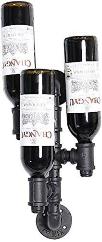 TUHFG Botellero de vino, vino, vino, vino, decoración del hogar, de hierro forjado, invertido, de pared, seguro y estable, antideslizante, soporte para vino