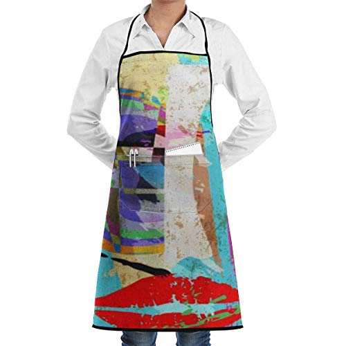N\A Delantal con Dobladillo Impermeable con Bolsillo 52cm 72cm, Delantal Unisex Naranja Graffiti Composición Abstracta Pintura Trazos y Salpicaduras Mascarilla Color púrpura