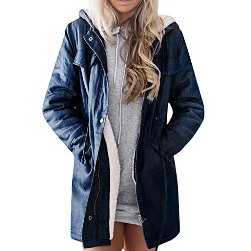 FRAUIT Damen Denim-Jacke Lange Jean Fleece Kurz Mantel Outwear Lange Trenchcoat Schlank Winterjacke Revers Steppmantel Slim Fit Mode Taschen Casual Langarm Fleecejacken Top Bluse (XL, Marine)