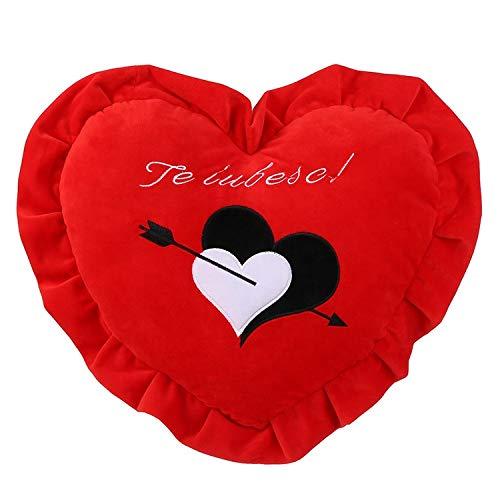 COJIN EN Forma DE Corazon para LOS Enamorados, Color Rojo de 35cm