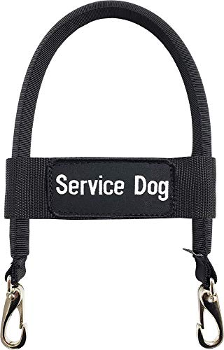 """ActiveDogs Nylon Clip-on Bridge Handle 12"""" Black for Service Dog Vest & Harnesses, Heavy Duty Metal Clips w/ Removable Service Dog ID Band"""