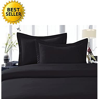 Celine LinenBest, Softest, Coziest Duvet Cover Ever! 1500 Thread Count Egyptian Quality Luxury Super Soft WRINKLE FREE 3-Piece Duvet Cover Set , Full/Queen, Black