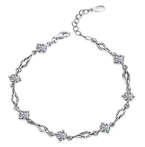 1 stuks armband dames zilver 925 zirkonia mode glitter armband, eenvoudige bedelarmbanden, verjaardagscadeau voor vrouwen of mama.
