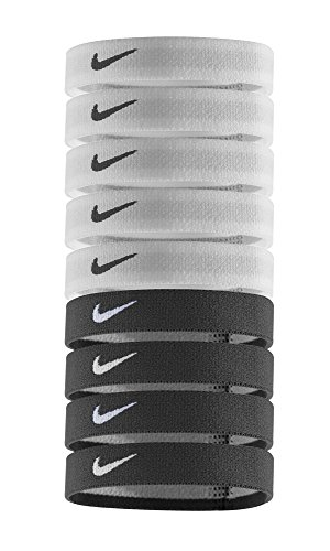 Nike Sport Hairbands (9pk, One Size Fits Most, White/Black)