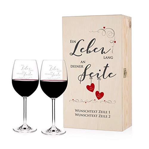 Herz & Heim® Leonanrdo Weingläser mit Gravur zur Hochzeit in bedruckter Geschenkverpackung mit persönlichem Glückwunschtext