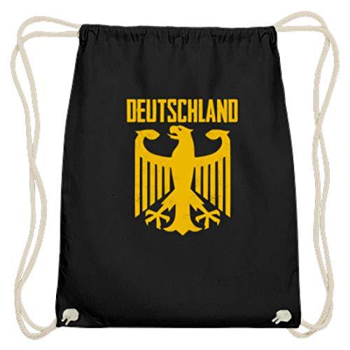 SPIRITSHIRTSHOP Cooles Bundesadler Adler Deustchland - Bundeswehr Stolz Flagge Grundgesetz Bundestag Staat - Baumwoll Gymsac -37cm-46cm-Schwarz