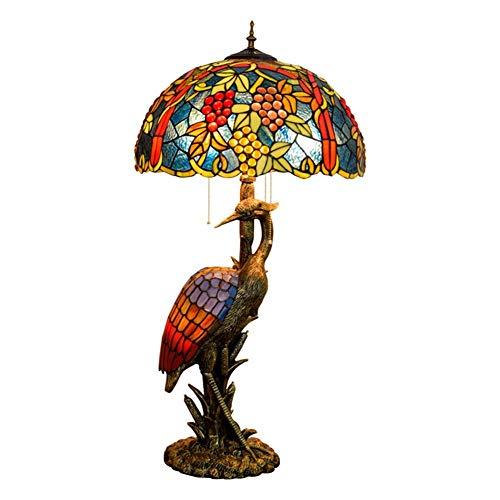 Busirsiz Mujer del estilo de Tiffany lámpara de escritorio de la grúa, persiana 50CM uva fruto de la lámpara de cristal, luz de la noche Adecuado for su estilo de Tiffany cubierta Habitación Decorar l
