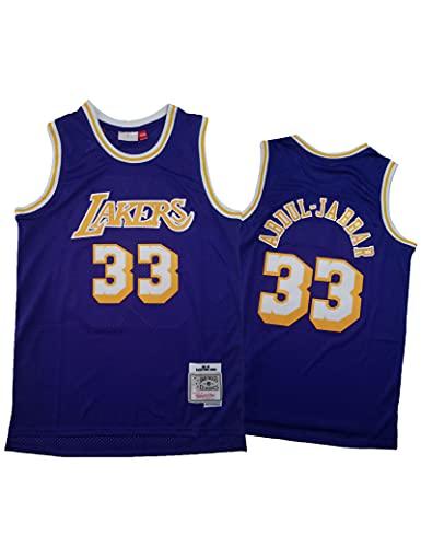 Camiseta de la NBA para Hombre Los Angeles Lakers # 33 Kareem Abdul-Jabbar Ropa de Entrenamiento de Baloncesto Sudaderas Camiseta sin Mangas Transpirable Chaleco Top