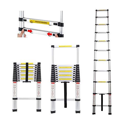 3,2M Teleskopleiter Klappleiter Ausziehbare Alu Leiter Schiebeleiter Mehrzweckleiter Rutschfeste Stufen 150 kg/330 Pfund Belastbarkeit für Zuhause/Büro/Dachboden/Arbeit
