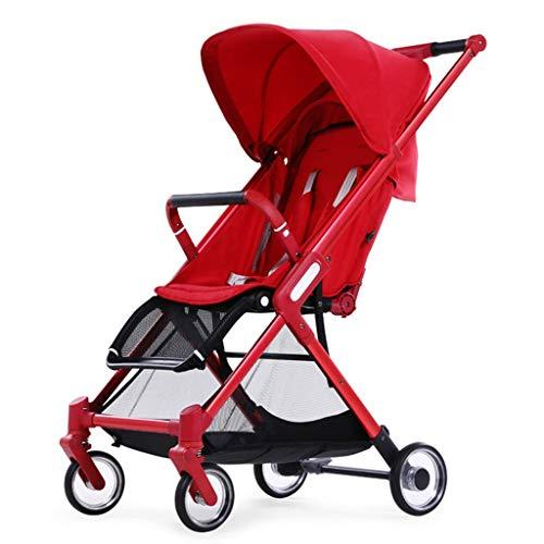 BLWX - La Poussette de bébé Peut s'asseoir et Poser Le Chariot à Chariot de Parapluie portatif légèrement plié léger et Mince Poussette (Couleur : Red)