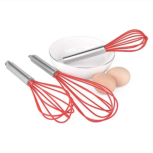 3 Silicone whisks, BPA Free and Stainless Steel (Red) ROYALTEC