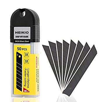 18mm Snap-off Blades 50-Pack by HEIKIO Quality Black Carbon Steel Sharper Replacement Blade for 18mm Box Cutter & Utility Knife