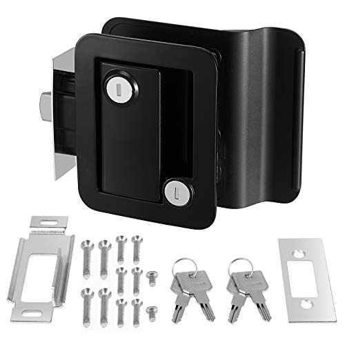 Kohree RV Travel Trailer Entry Door Lock with Paddle Deadbolt, Polar Black Camper Door Latch Handle RV Door Lock Replacement with Keys--Zinc Alloy Security Kit for Camper Horse Trailer Cargo Hauler