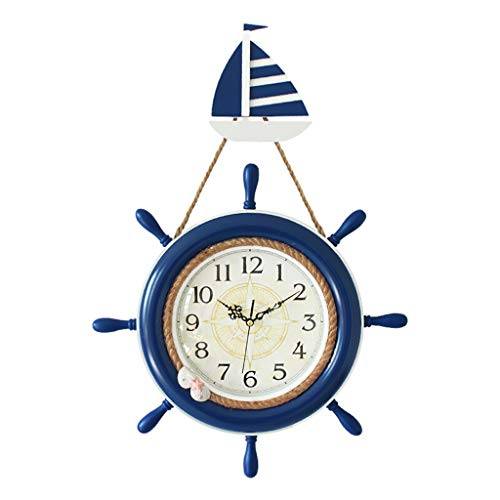 YZERTLH Reloj de Pared Estilo Mediterráneo Ancla Campana Rueda Barco Timón Volante Colgante de Pared Decorativo Material de Madera Maciza Reloj Reloj Pared